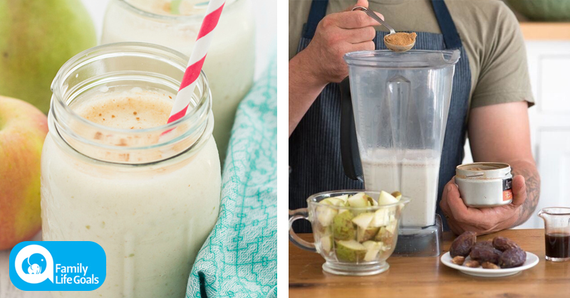 5-ingredient smoothie with pears, brazil nut milk and coconut manna