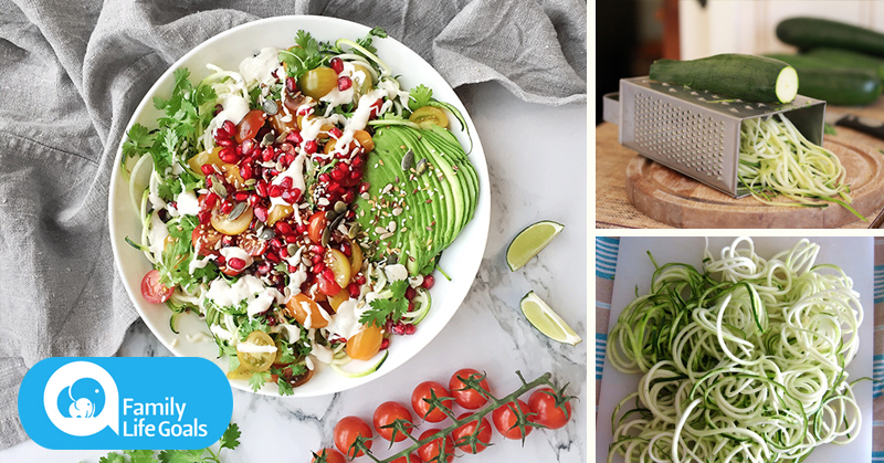 Gluten-Free Zucchini Noodles with tahini-lime sauce, avocados and seeds