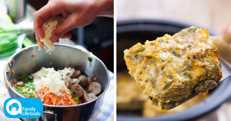 Image of Pop these breakfast ingredients in a slow cooker before bed and wake up to warm breakfast casserole!