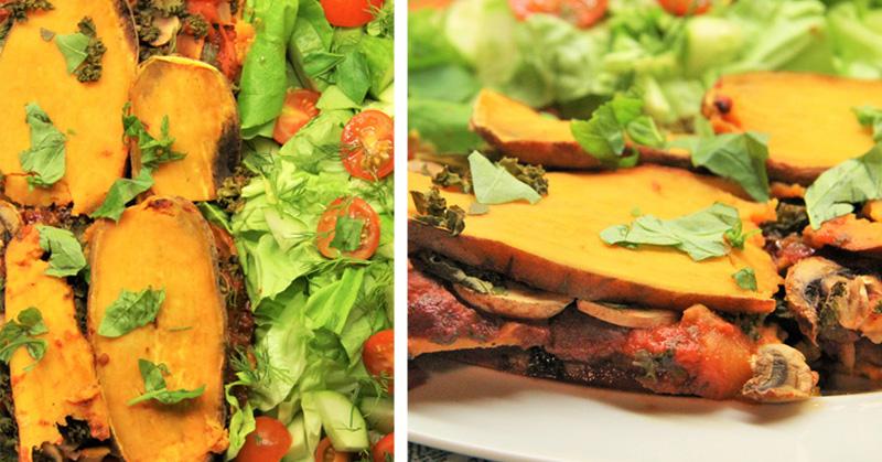 Sweet Potato Lasagna with kale, mushrooms and garlic