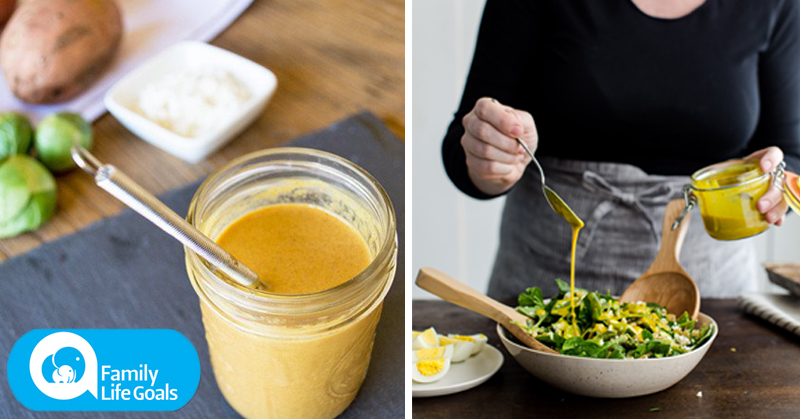 Turmeric and garlic yogurt dressing that you can put on any kind of salad