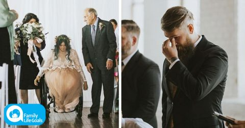 Image of Paralyzed woman surprises everyone when she stands up and starts walking down the aisle