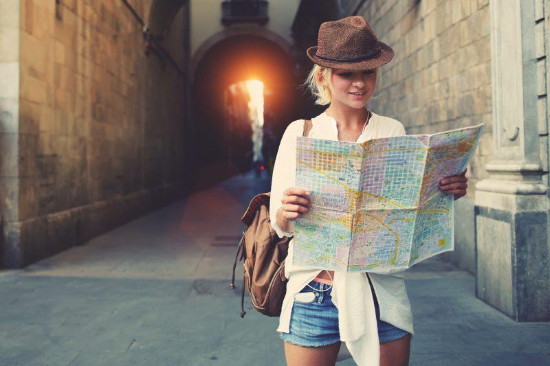 Happy female tourist