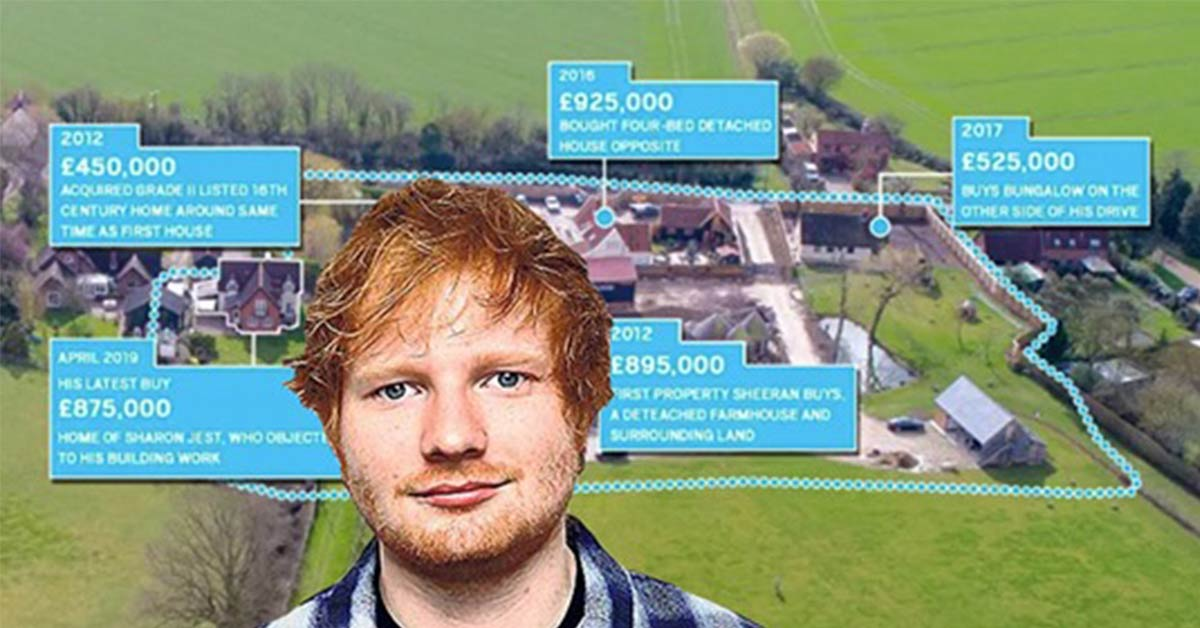Ed Sheeran Stops Neighbours' Complaints By Simply Buying Their Homes