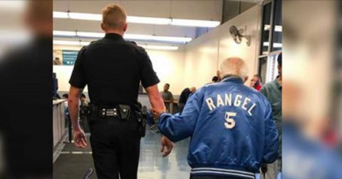 Image of Officer Helps 92-Year-Old Man After Bank of America Kicked Out For Causing Disturbance