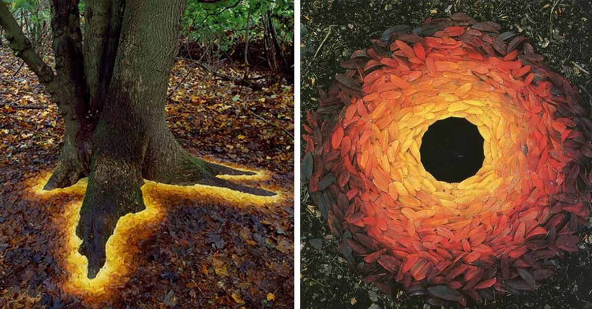 British Sculptor Uses Flowers, Leaves, Sticks, and Stones to Form Enchanting Land Artworks