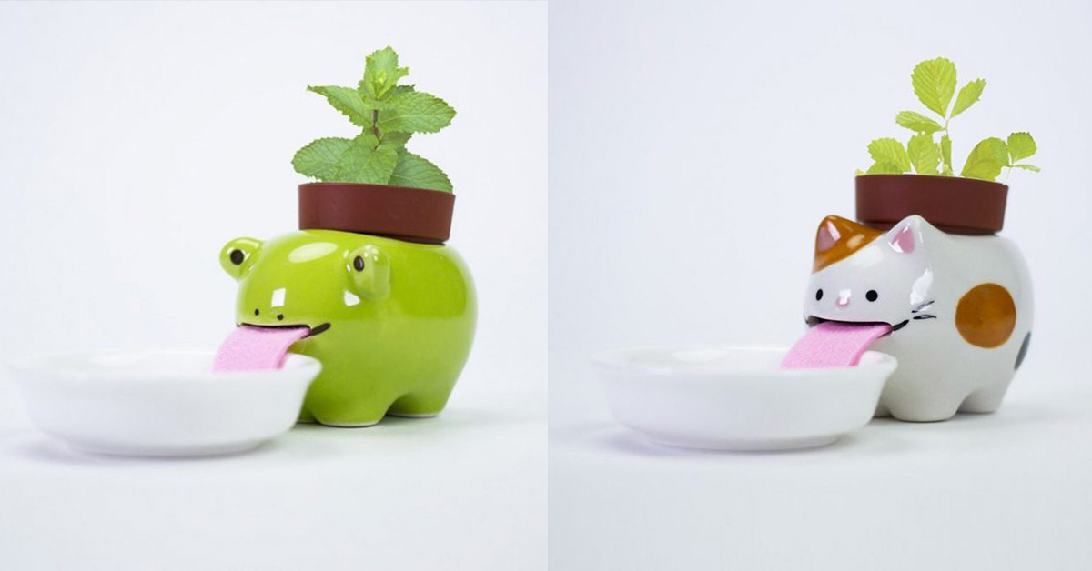 These Cute Drinking Animal Planters Keep Plants Hydrated By Drinking From Little Water Bowls