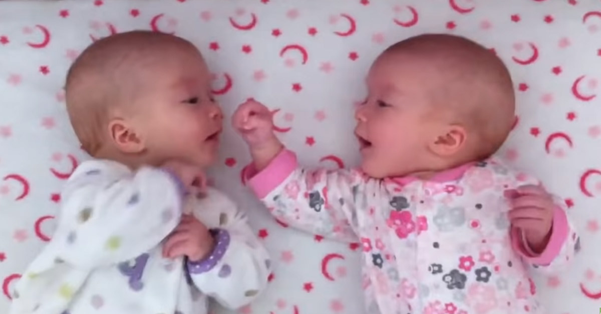 Adorable Twins See Each Other For The First Time, Hold A Private Conversation