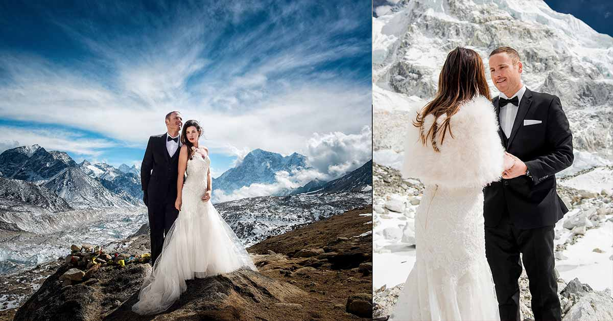 After Trekking For 3 Weeks, This Couple Gets Married On Mount Everest And Their Photos Are Sensational