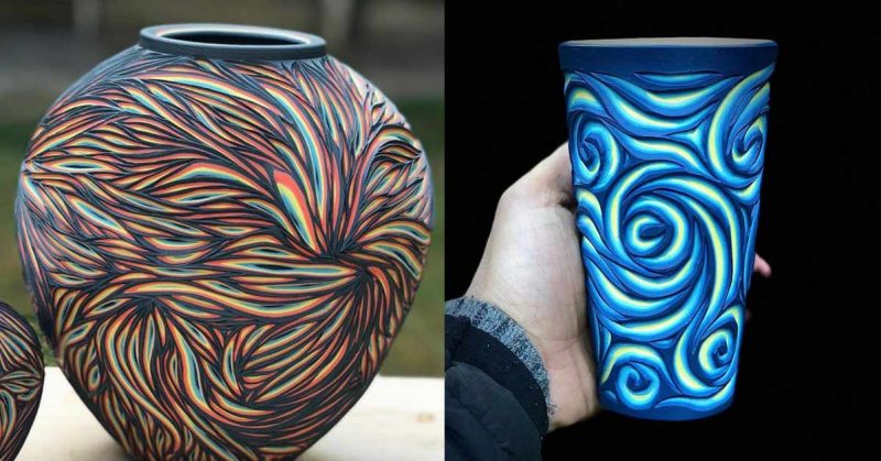Artist Demonstrates the Enchanting Art of Carving Ceramics to Reveal Several Layers of Colors Beneath