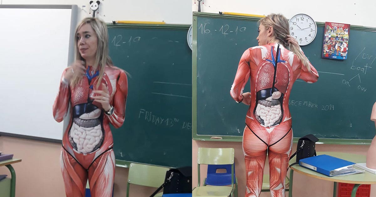 Creative Teacher Gives Anatomy Lesson in Full-Body Suit That Maps Out The Human Body in Extreme Detail