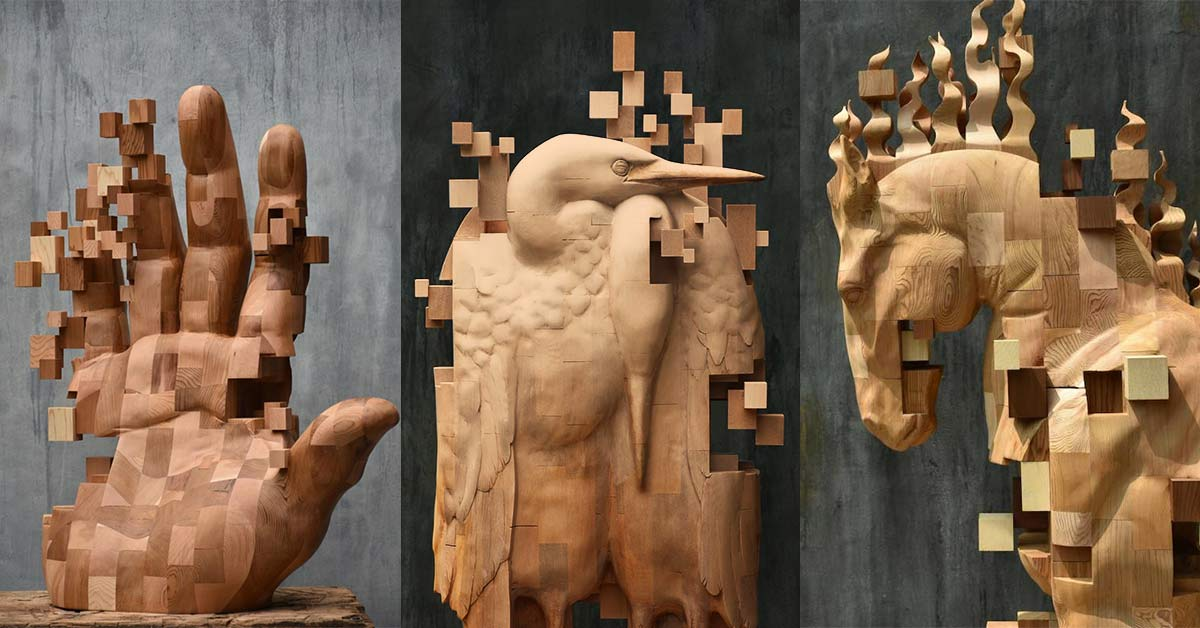 Taiwanese Sculptor Creates Incredible Wood Sculptures that are Carved to Look Like Pixelated Glitches