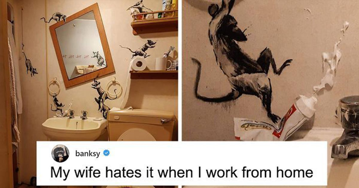 """""""My Wife Hates It When I Work From Home"""" Banksy Reveals His Newest Work on Instagram"""
