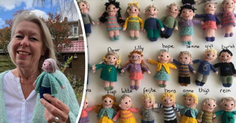 Dutch Teacher Knits Adorable Tiny Dolls of Her 23 Students Because She Missed Them All