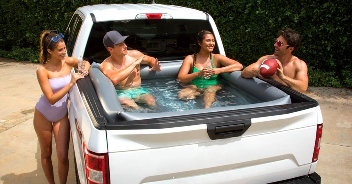 You Can Buy an Inflatable Pool That's Made to Fit Perfectly in Truck Beds