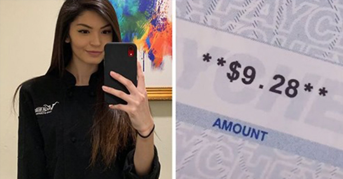 Mom Shares A TikTok Her $9.28 Paycheck After Working For 70 Hours As A Waitress